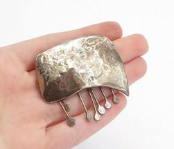 925 Sterling Silver - Vintage Modernist Dangling Hammered Brooch Pin - B... - $63.67
