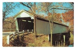 Darlington Indiana Old Covered Bridge over Sugar Creek Vintage Postcard - $3.99