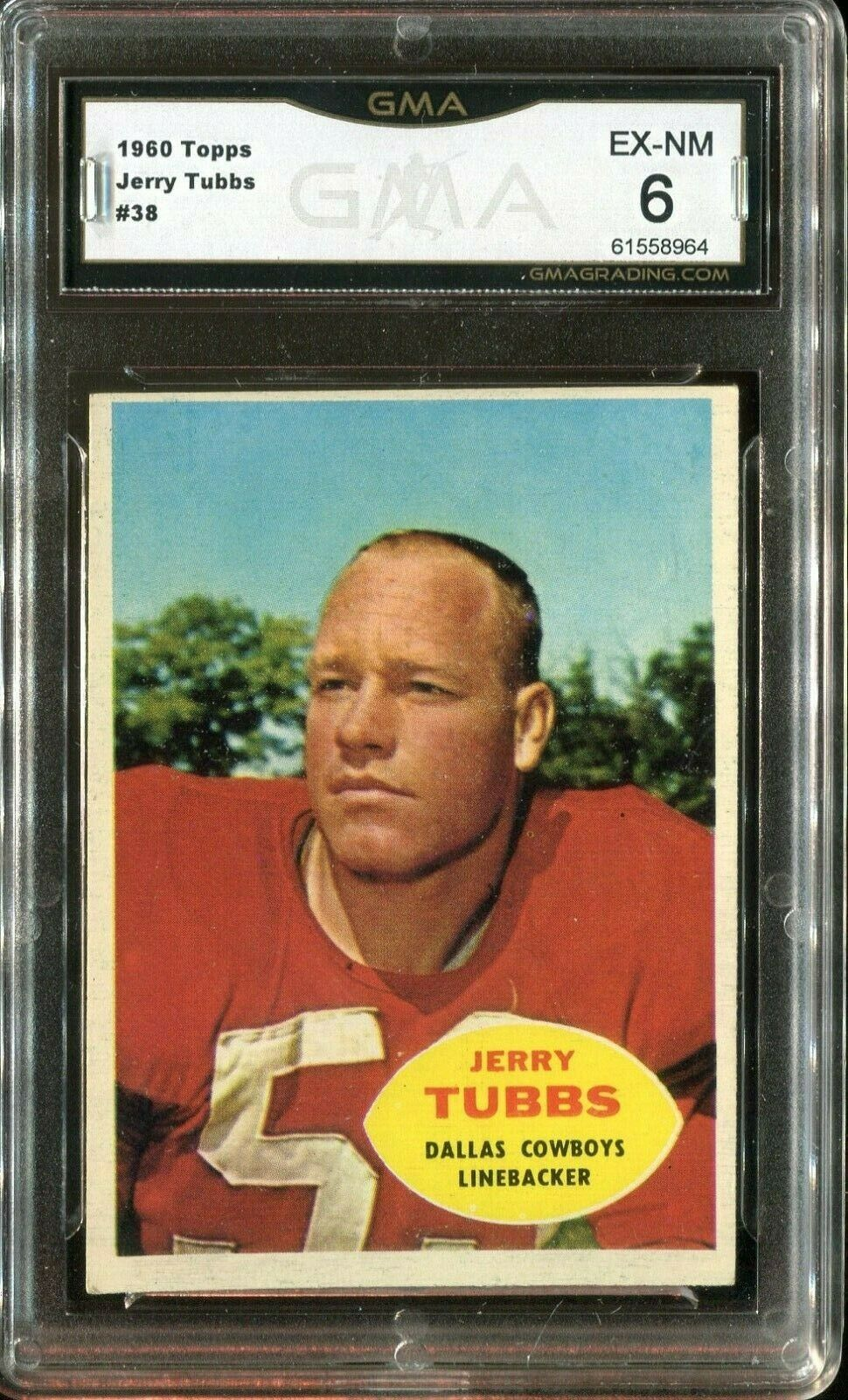 Primary image for 1960 Topps Football Jerry Tubbs #38 - Dallas Cowboys (GMA Graded EX-NM 6)