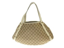 GUCCI Shoulder Bag GG Canvas Leather Beige Ivory 130736 Italy Authentic ... - $411.19