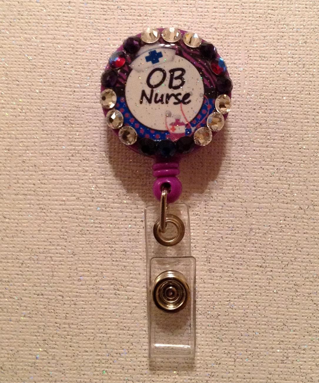 OB Nurse Badge Reel - OB Id Holder Lanyard - Swarovski Crystals Alligator Clip