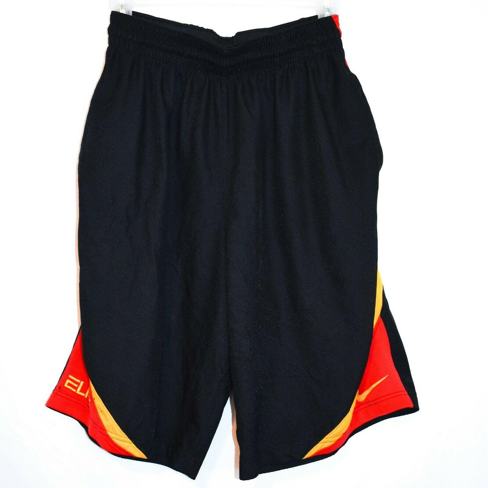 Nike Dri-Fit Elite Black Red Yellow Men's Athletic Basketball Shorts Size S