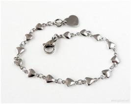 Heart Chain Bracelet, Stainless Steel, Gatumi, Stackable Bracelet, Gyaru - $5.00