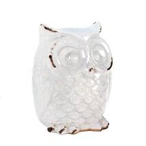 *15684B  Distress Finish Ceramic White Owl Figurine - $14.05