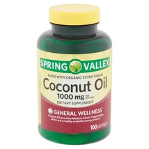 Spring Valley Coconut Oil Softgels, 1000mg, 100 Count. - $15.83