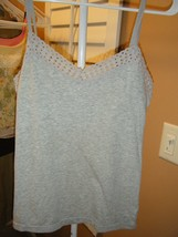 American Eagle Outfitters Gray Cami Open Lace Trim Top Large - $5.93