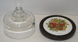Spice of Life Wooden Cheese Tray with Glass Dome Lid Corning Ware - $12.99