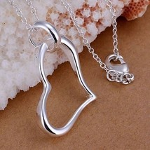 Plated Silver Fashion Jewelry Pendant Necklace, Plated Silver Necklace Heart Pen - $9.72