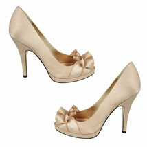 Nw 10 NINA Evelixa Pumps Gold Satin Peep Toe Heels Womens Elegant Platform Shoes - $31.98