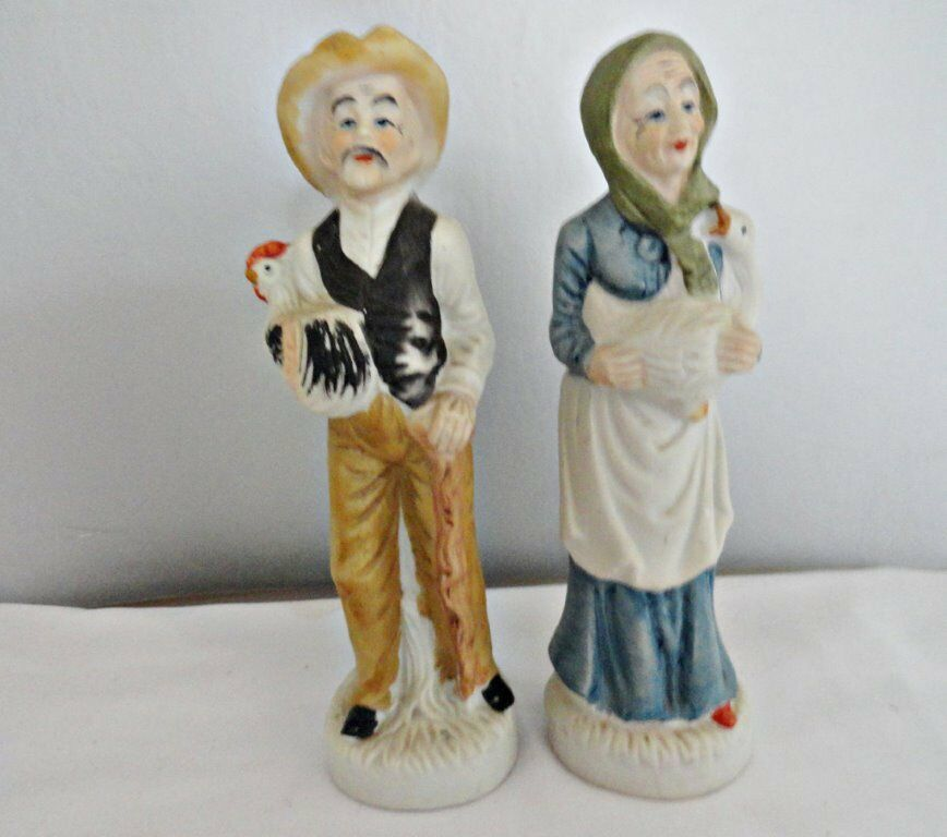 Set of Old Man & Woman Figurines