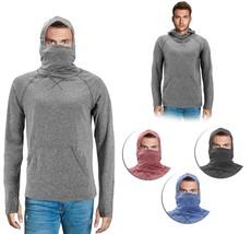 Men's Activewear Long Sleeve T-shirt Ninja Mask Thumb Hole Cuff Hooded Shirt