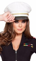 Sequin Sailor Hat Navy Marine Captain Naval Costume Roma White Gold H4340 - $33.85