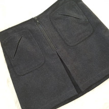 Gap Wool Mini Skirt Charcoal Gray Black Zip Front Pleat Patch Pockets Wa... - $14.80