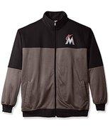 MLB Miami Marlins Men's Poly Fleece Yoked Track Jacket Black/Gray - $34.95+