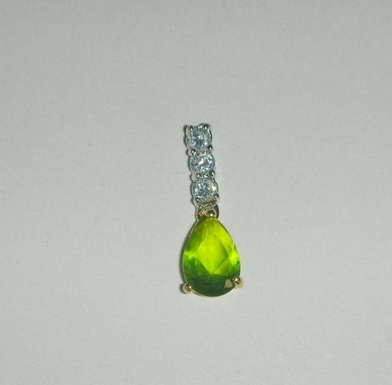 Peridot and Clear Diamond Cut Pendant