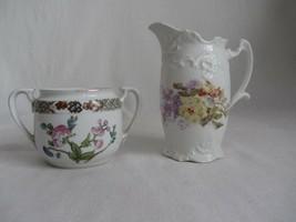 Vintage Porcelain Sugar Bowl Noritake Nippon & Creamer Floral Embossed - $16.82