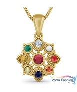 Multi Color Navratna Stone Women's Pendant W/ Chain 18k Gold Plated 925 ... - £41.18 GBP