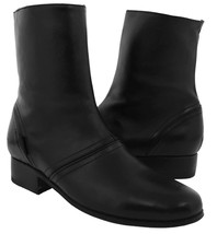 Mens Jet Black Smooth Leather Zipper Design Ankle Boots Botin Cowboy Riding - €64,55 EUR
