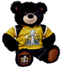 Build a Bear Super Bowl 50 Football Black Teddy Gold Jersey Jeans 16in. ... - $179.95