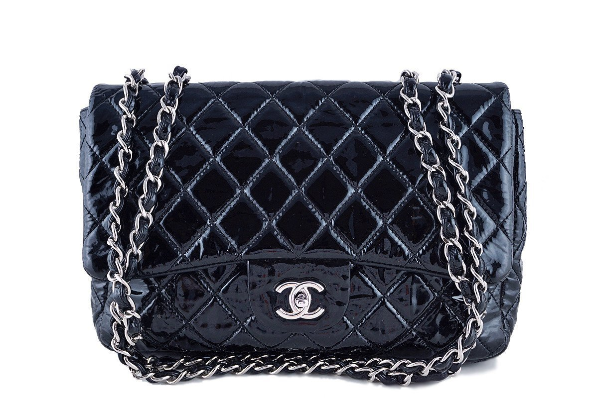 AUTHENTIC CHANEL BLACK QUILTED PATENT LEATHER JUMBO CLASSIC FLAP BAG SHW