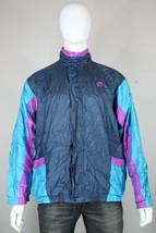 vintage Nike windbreaker jacket L 80's 90's gray red tag nylon blue purple - $35.00