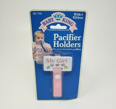 BABY KING REGENT PACIFIER HOLDER W/ RIBBON MY GIRL PINK W/ HEARTS NEW IN... - $28.05