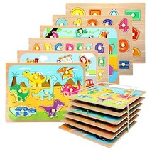 WOOD CITY Toddler Puzzles and Rack Set, Wooden Peg Puzzles Bundle with Storage H