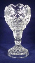 Candle Holder Votive Pillar - Clear Crystal Diamond Pattern Scalloped To... - $6.44
