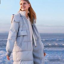 Women's Thick 90 % White Duck Down Solid Quilted Long Winter Coat
