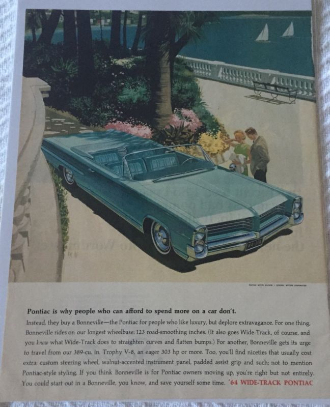 Primary image for Vintage 1964 Pontiac Wide-Track Bonneville Magazine Advertisement Sealed!