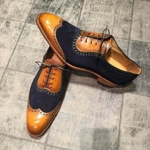 Handmade Men's Brown Leather & Black Suede Wing Tip Lace Up Dress Oxford Shoes image 3
