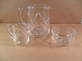 3 PC Glass Table Set  Cream, Sugar, Milk Pitcher Diamond Pattern - $18.06