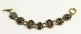 "New Carolee Jewelry Topaz Glass Cameo Toggle Bracelet 7.5"" - $50.00"