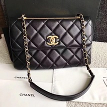 AUTHENTIC CHANEL BLACK QUILTED LAMBSKIN TRENDY CC 2 WAY FLAP BAG GHW