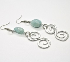 Earrings the Aluminium Long 9 cm with Aquamarine Rondelles and Spiral image 2