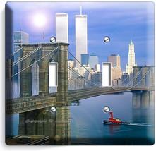 Nyc New York City Brooklyn Bridge Twin Towers 2 Gang Light Switch Plate Hd Decor - $11.69