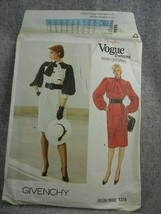 Vogue Pattern 1316 Misses 12 Miss Petite Dress Givenchy Paris original tie  - $10.88