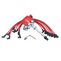SBC CHEVY 283 327 350 383 HEI Distributor 8mm SPARK PLUG WIRES UNDER THE EXHAUST