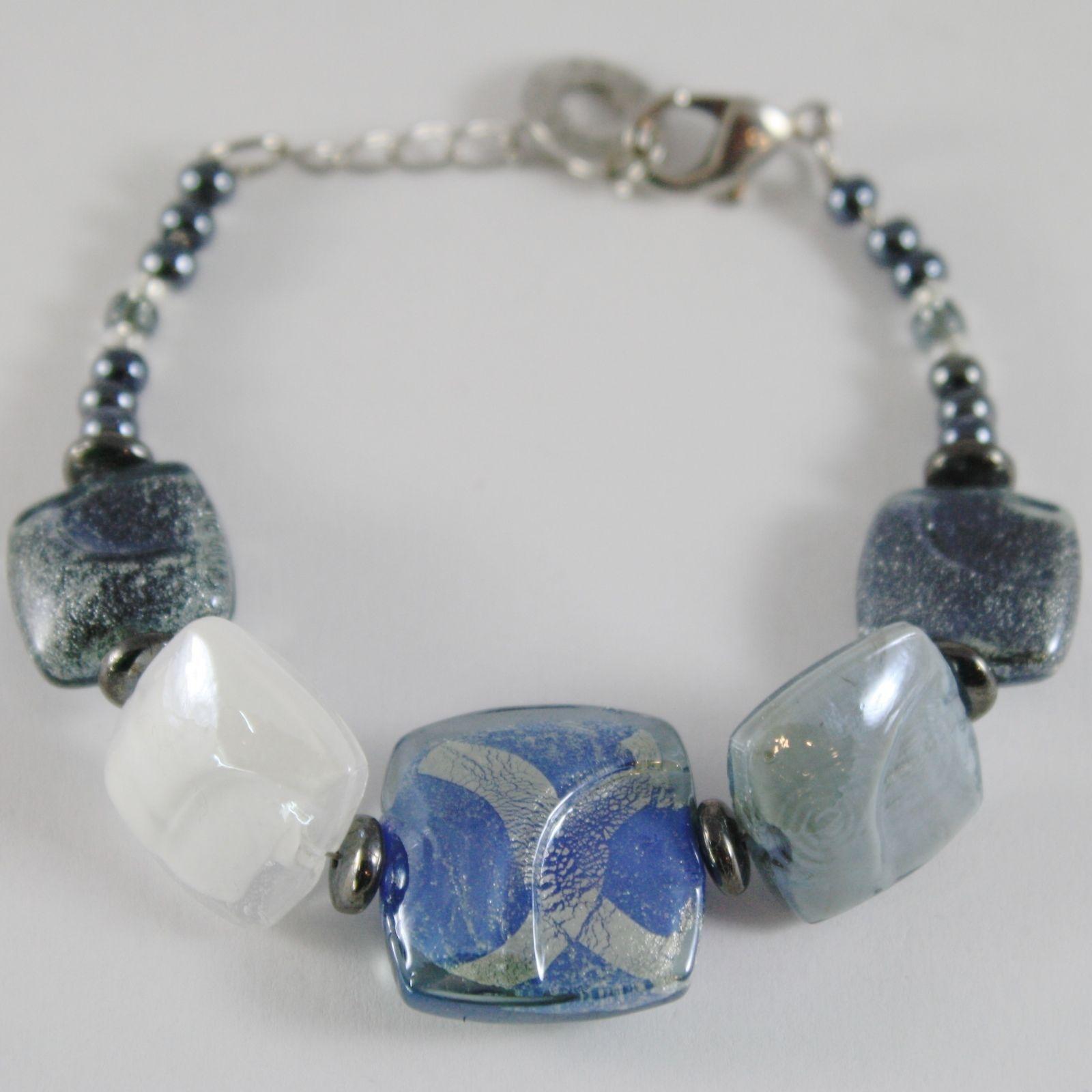 BRACELET ANTICA MURRINA VENEZIA WITH MURANO GLASS BLUE GREY WHITE BR729A06