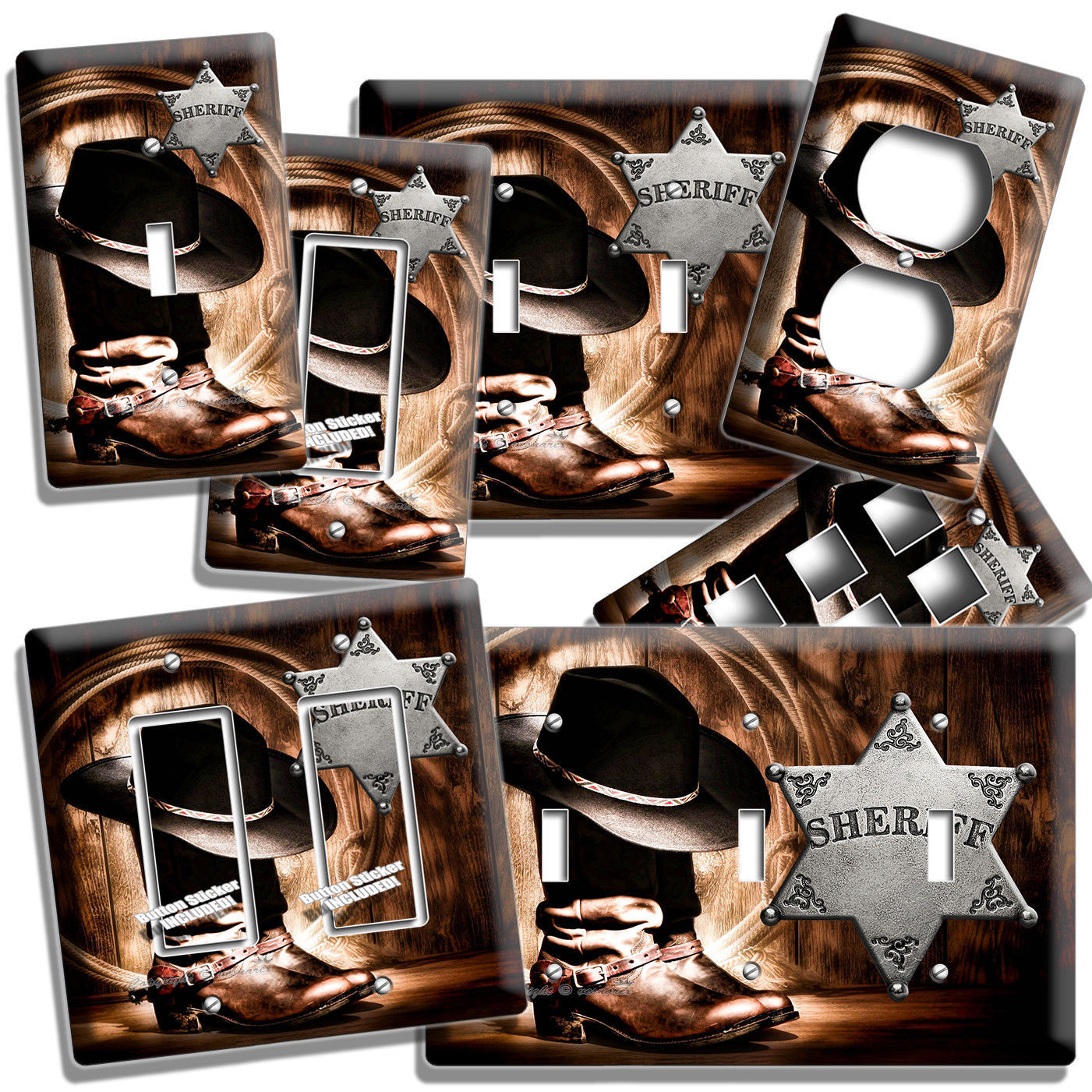 Primary image for COUNTRY COWBOY BOOTS HAT LASSO SHERIFF STAR LIGHT SWITCH OUTLET PLATE ROOM DECOR