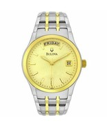 Bulova 98C60 Men's Dress Champagne Gold Dial Two-Tone Stainless Steel Date Watch - $129.99