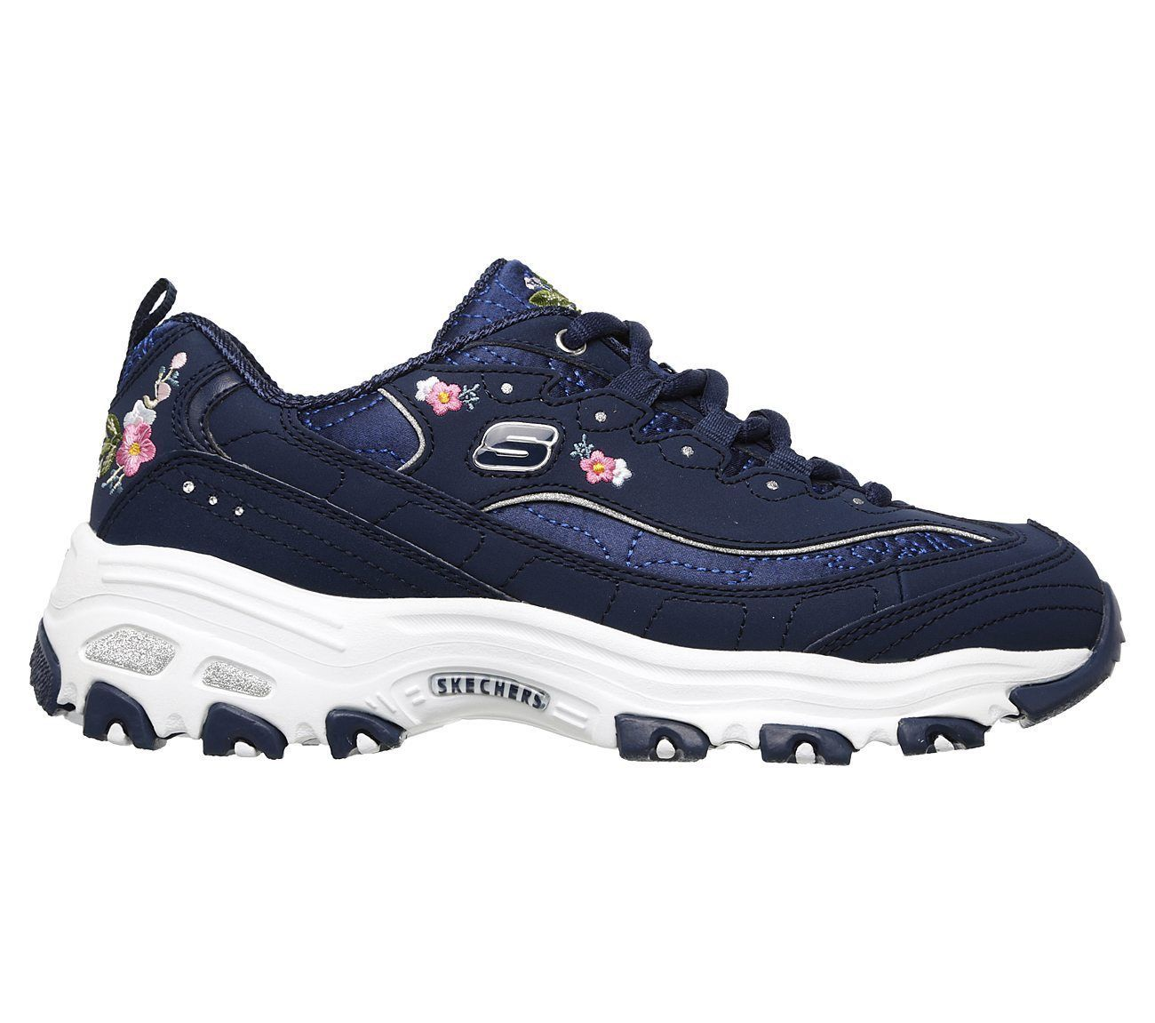 11977 Navy Dlites Skechers Shoes Women Sporty Casual Comfort Memory Foam Floral image 2