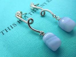 Tiffany Blue Chalcedony Twist Dangling Earrings in Sterling Silver - $300.00