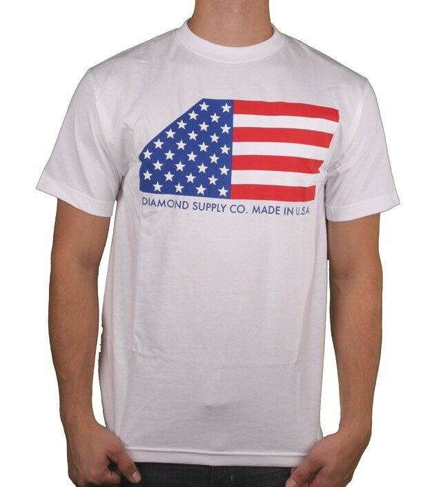 Diamond Supply Co. Black or White USA Made American Flag Stars Stripes T-shirt