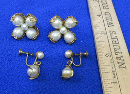 Vintage Screw Back Earrings Faux Pearl Floral Flower Shape & Tear Drop D... - $10.88