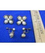 Vintage Screw Back Earrings Faux Pearl Floral Flower Shape & Tear Drop D... - $10.88