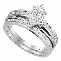 Sterling Silver Round Diamond Bridal Wedding Engagement Ring Band Set 1/... - £151.07 GBP