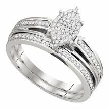 Sterling Silver Round Diamond Bridal Wedding Engagement Ring Band Set 1/... - £151.07 GBP