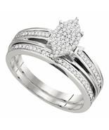 Sterling Silver Round Diamond Bridal Wedding Engagement Ring Band Set 1/... - £159.75 GBP
