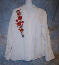 Womens White Embroidered Relativity Long Sleeve Shirt Size Large excellent - $6.92